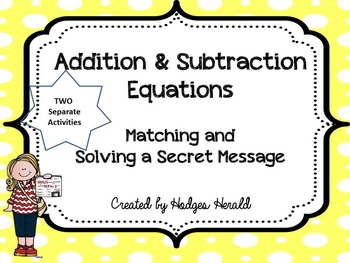Addition and Subtraction Equations
