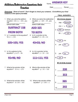 Addition and Subtraction Equations - Quiz, Practice Quiz & Quiz Re-Take