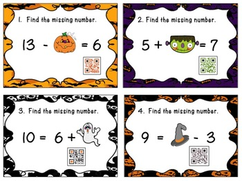 Addition and Subtraction Equations for Halloween