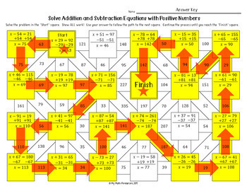Addition and Subtraction Equations with Positive Numbers Maze and Bonus Maze