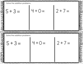 Addition and Subtraction Exit Tickets (Kindergarten OA Exit Tickets)