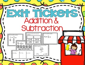 Addition and Subtraction Exit Tickets (Kindergarten OA Exi
