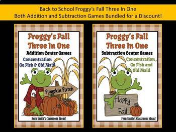 Math Center Games Addition and Subtraction Centers for Fall With Froggy Bundle
