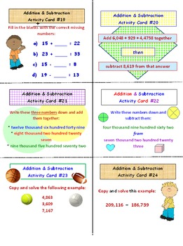 Addition and Subtraction FREE Activity Cards PREVIEW