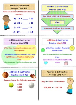 Addition and Subtraction FREE Practice Cards PREVIEW