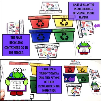 Earth Day Math Game - Addition and Subtraction Fact Families