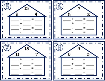 Addition and Subtraction Fact Families Task Cards