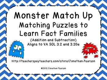 Addition and Subtraction Fact Families - Monster Match
