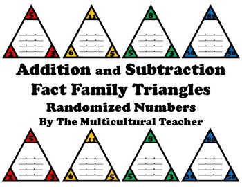 Addition and Subtraction Fact Families: Randomized Numbers