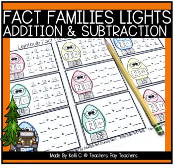 Addition and Subtraction Fact Families with Christmas Lightbulbs from 2-20