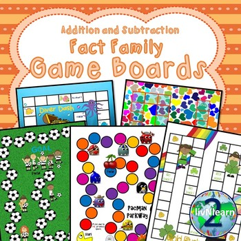 Addition and Subtraction Fact Family Board Games (SET 2)