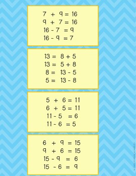 Addition and Subtraction Fact Family Memory Game