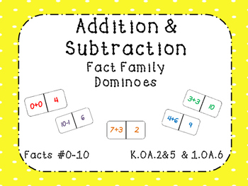 Addition and Subtraction Fact Family Dominoes Facts 0-10