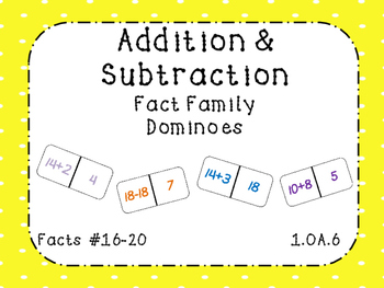 Addition and Subtraction Fact Family Dominoes Facts 16-20