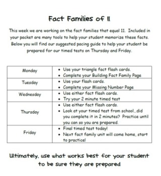 Addition and Subtraction Fact Family Fluency Unit 11-20