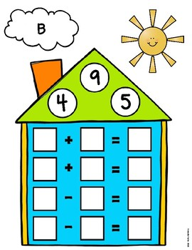 Addition and Subtraction Fact Family Houses Center