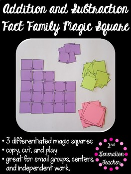 Addition and Subtraction Fact Family Magic Squares