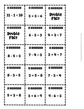 Addition and Subtraction Fact Family Practice 4 square game