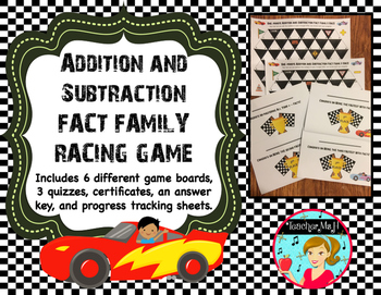 Addition and Subtraction Fact Family Racing Game