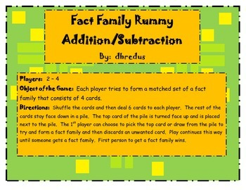 Addition and Subtraction Fact Family Rummy