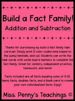 Addition and Subtraction Fact Family Task Cards