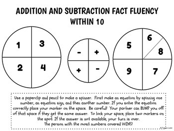 Addition and Subtraction Fact Fluency Bump! (within 10)