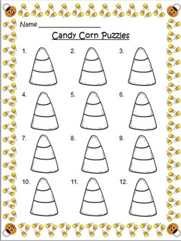 Addition and Subtraction Fact Fluency Candy Corn Puzzles +0,-0, +1, -1
