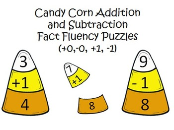 Addition and Subtraction Fact Fluency Candy Corn Puzzles +