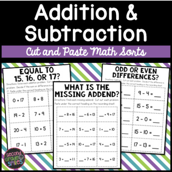 Addition and Subtraction Cut and Paste Math Sorts