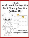 Addition and Subtraction Facts (within 10) Practice Pack
