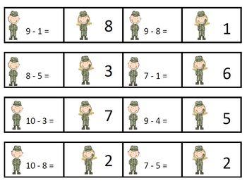 Addition and Subtraction Fact Fluency Veteran's Day