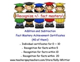 Addition and Subtraction Fact Mastery Achievement Recognition Certificates