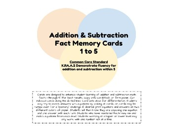 Addition and Subtraction Fact Memory Card Game 1-5