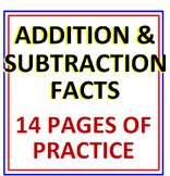 Addition and Subtraction Facts BUNDLE 14 Pages of Practice