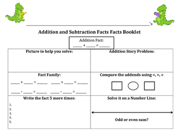 Addition and Subtraction Facts Booklet