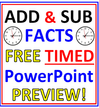 Addition and Subtraction Facts FREE Timed PowerPoint PREVIEW
