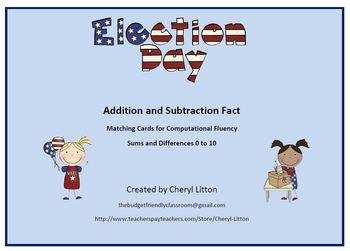 Addition and Subtraction Facts Fluency Election Day
