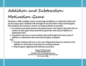 Addition and Subtraction Facts - Fun and Motivating Game for Students
