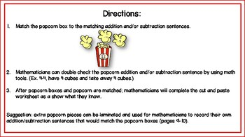 Addition and Subtraction Facts Popcorn Theme