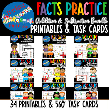 Addition and Subtraction Worksheets AND Task Cards BUNDLE Fact Practice