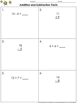 Addition and Subtraction Facts Practice Sheets (Sums to 20) - King Virtue