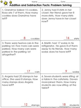 lesson 6 problem solving practice Addition and Subtraction Facts: Problem Solving Practice Sheets ...