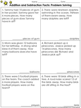 Addition and Subtraction Facts: Problem Solving Practice Sheets (Sums to 20)