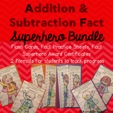 Addition and Subtraction Facts Superhero - fact practice tracking & flash cards