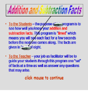 Addition and Subtraction Facts TIMED PowerPoint (95 slides)
