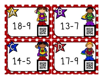 Addition and Subtraction Facts Task Cards with QR Codes