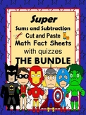 """Addition and Subtraction Facts  """"The Bundle""""-cut and paste sheets and quizzes"""