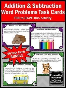 Addition and Subtraction Word Problems Task Cards BUNDLE Grade 1 and 2