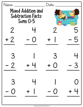 Addition and Subtraction Facts Worksheets K.OA.A.5:  Sums 0-5