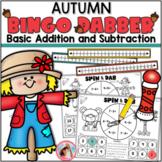 Addition and Subtraction Fall Bingo Dauber Games